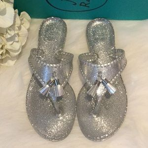 Jack Rogers Silver Sparkle Alana Jelly Sandals NWT